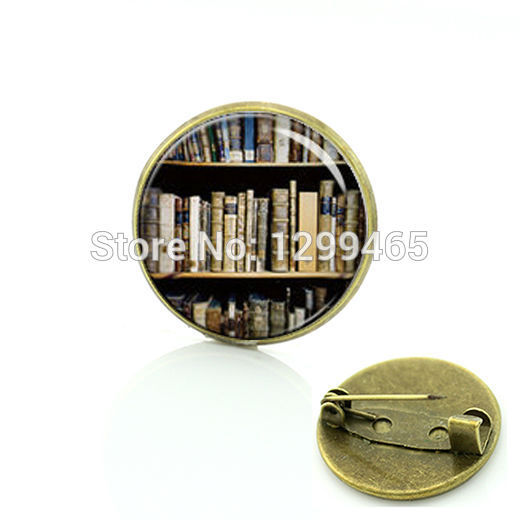 Broche Unique Design Bookshelf Keepsake Brooch Library Books Art Picture Glass Cabochon Dome Badges Your Finish Choice C 837  by Jweijiao