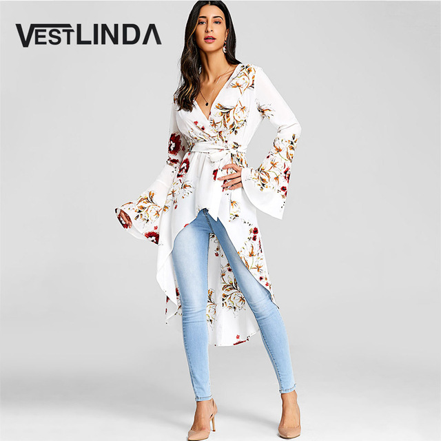 VESTLINDA Women Bell Sleeve Floral High Low Fishtail Top Blouse Fashion Casual Plunging Neck Long Sleeves Long Blouses Blusas