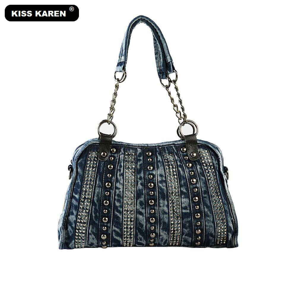 KISS KAREN Fashion Denim Bag Women Handbags Vintage Studs Women's Shoulder Bags Women Tote Bag Jeans Luxury Designer Casual Tote vintage women jeans calca feminina 2017 fashion new denim jeans tie dye washed loose zipper fly women jeans wide leg pants woman