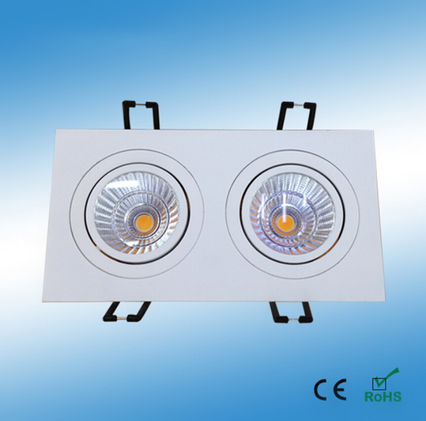 Free Shipping Square Double Warm White Cold White 2*7W 2*10W 2*15W COB LED downlight  LED Ceiling Lamp light AC90-260V led downlight lamp 3w 220v 110v ceiling recessed downlights round cob downlight cold white led panel light free shipping