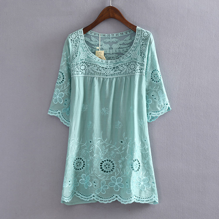 0af2add0536 2018 New Summer Style Bohemian Embroidery Cotton Women Top Blouses Summer  Blusa Feminina Women Shirts Camisa ...