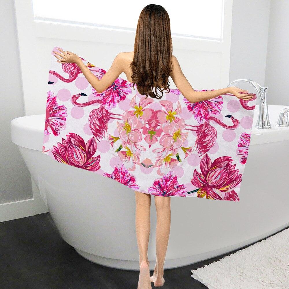 Mode Stijl Hoge Kwaliteit Flamingo Stijl Microfibe Badhanddoek Rechthoekige Creatieve Afdrukken Zonnebrandcrème Strandlaken Voor Volwassenen Sjaal Yoga Handdoek 2019 Official