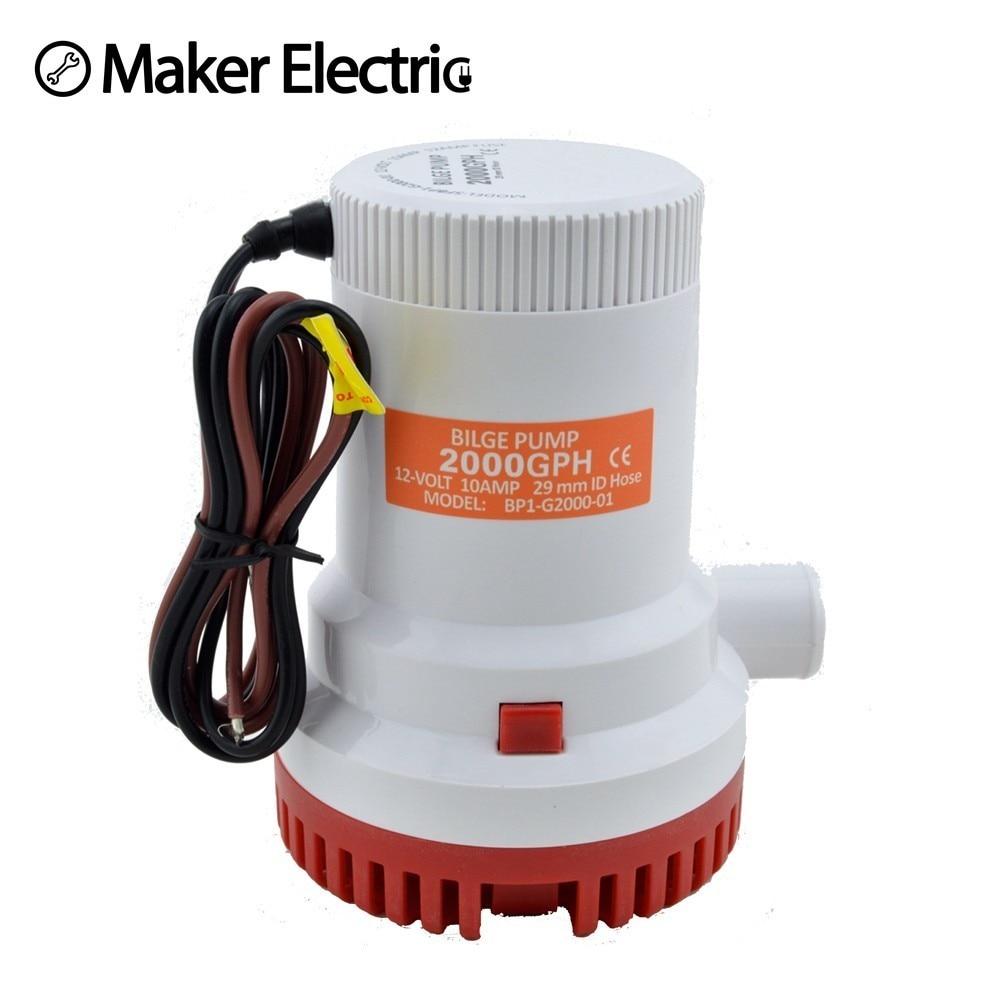 water pump Thermoplastic Electric MKBP G2000 12/24 seasense submersible 12V 2000 gph bilge pump