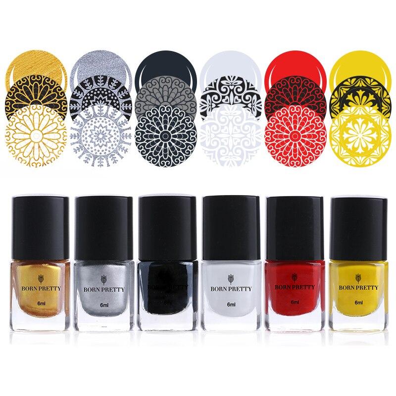 BORN PRETTY 5ml Stamping Polish Black White Gold Silver Stamping Nail Lacquer Nail Plate Printing Polish Nail Art Tools