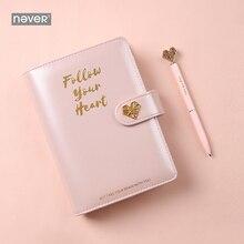 Nunca luz rosa série espiral fichário caderno coreano grade linha pontilhada papel a6 planejador diário livro de nota pessoal presente papelaria
