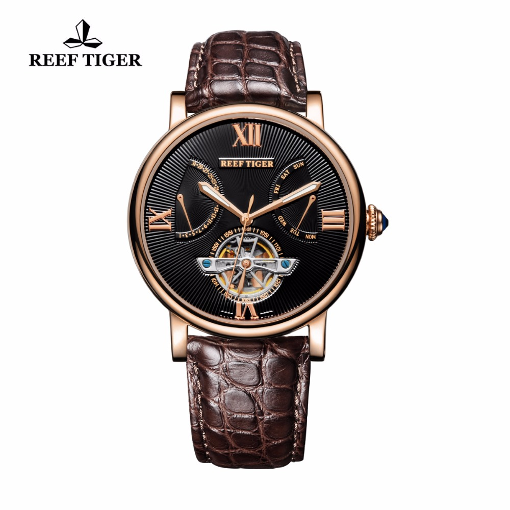 Reef Tiger/RT Designer Casual Watches Rose Gold Alligator Strap Watch for Men Tourbillon Automatic Watches with Date Day RGA191