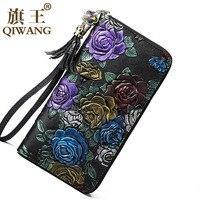 Zipper Around Hand Wallet Women Fashion Rose Flower Phone Wallets Luxury Brand Zipper Coin Purse Female Clutch Quality