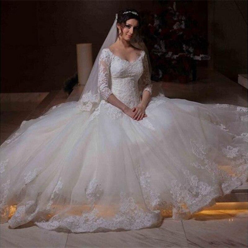 3/4 Sleeves Vestido De Noiva Muslim Wedding Dresses Ball Gown V-neck Tulle Lace Boho Dubai Arabic Wedding Gown Bridal