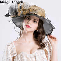 Mingli Tengda Elegant Formal Wedding Hats for Women Organza Bridal Hats with Flower Large Beach Hat chapeau de mariage 2018 New