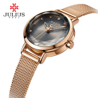 JULIUS Fashion Silver Women Watches 2017 High Quality Ultra Thin Quartz Watch Woman Elegant Dress Ladies