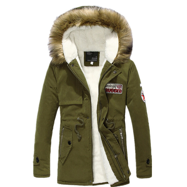 Men wear thick warm hooded fur collar long coat 2017 new autumn and winter high-quality casual men's parka jackets
