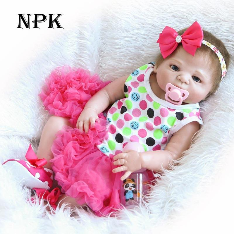 NPK 55cm Soft Silicone Reborn Baby Doll Kids Playmate Toys for Girls Adorable Lifelike Toddler Baby Children Pretend Play Prop 16in silicone newborn baby doll simulation reborn dolls kids lifelike pretend play toy for children kids girls birthday gift