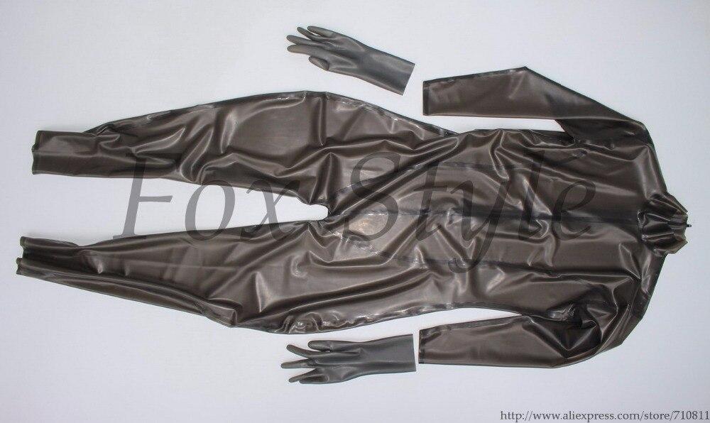 Buy Latex handmade catsuit transparent black rubber bodysuit tight woman 100% nature
