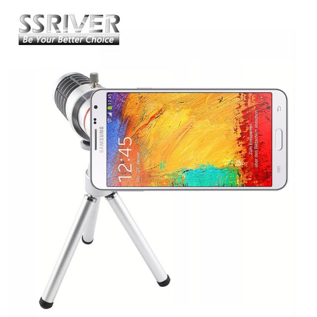 Ssriver para samsung galaxy note3 n9000 12x zoom óptico telescope camera lens + tripé + case capa voltar telefone 12x zoom lente