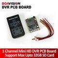 1ch mini dvr en tiempo real hd dvr soporte de la placa pcb ficha encendido motion detecta la grabación etc