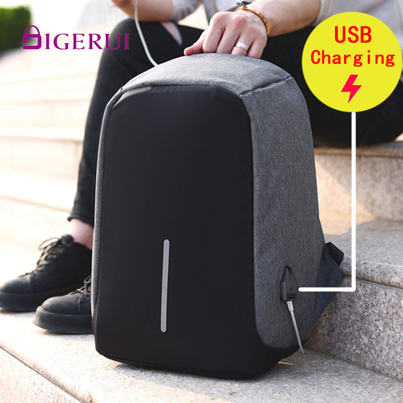 DIGERUI Business Backpack Unisex Laptop Travel Bag Anti-theft USB Charge School Bags Teenage Men's Large Waterproof Backpacks(China)