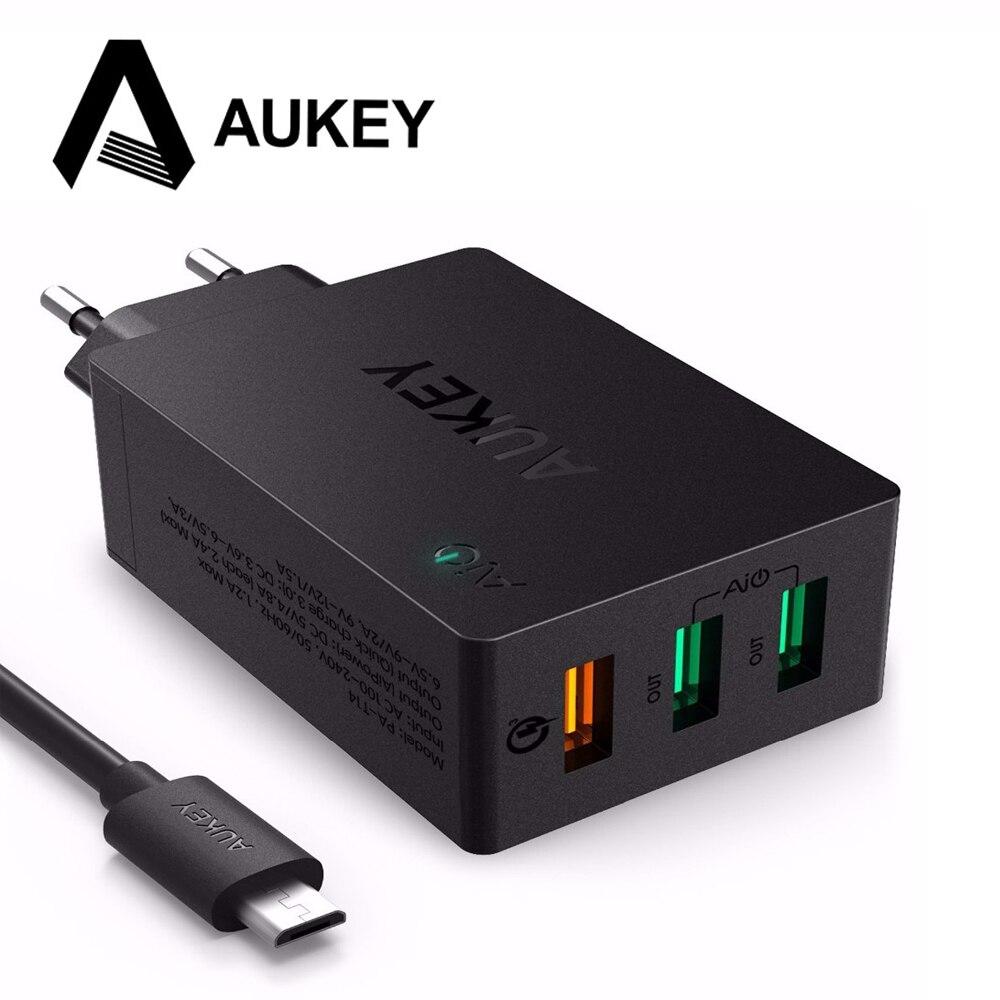 bilder für AUKEY Usb-ladegerät Quick Charge 3,0 3 Port USB Handy ladegerät Intelligente Wand Lade für iPhone LG G5 Samsung Xiaomi HTC & mehr