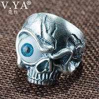 V.YA 990 Sterling Silver Male Rings Adjustable Skull Viking Ring for Men with Blue Eye Silver Jewelry High Quality