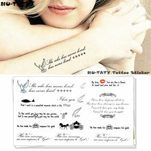 Nu-TATY Wise Love Poems Words Temporary Body Art Flash Tattoo Sticker 10x17cm Waterproof Henna Fake Tato Car Styling Wall Tatto