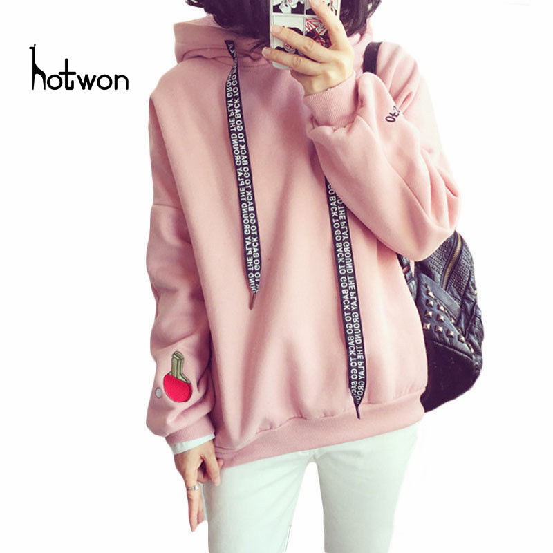 Wholesale S-XL Cute Women Hoodies Pullover 3 colors 2018 Autumn Coat Winter Loose Fleece Thick Knit Sweatshirt Female