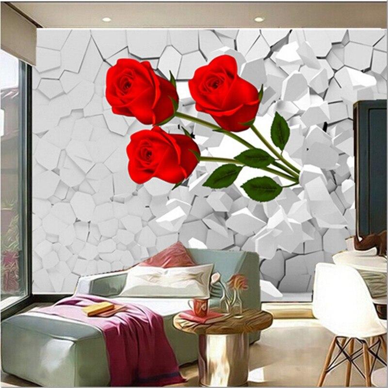 Personalizzato 3D murale, scoppio attraverso le pareti di rose rosse ...