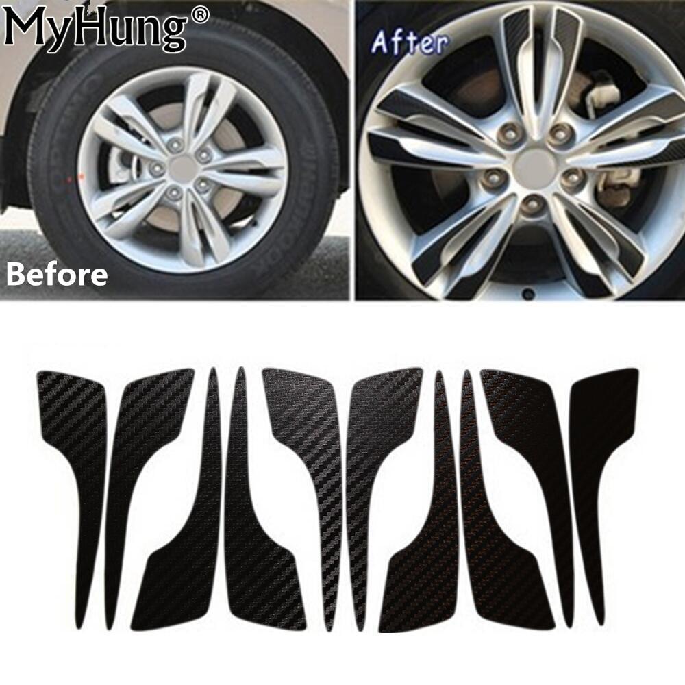 Car Wheel Hub Carbon Fiber Sticker FOR Hyundai  IX35 TUCSON IX 2009 To 2015 17inch Car Stickers Auto Accessories 40pcs