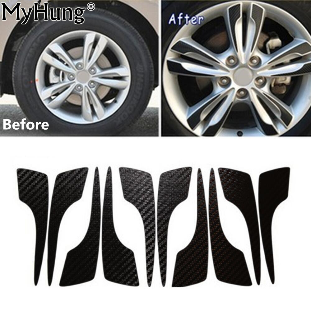 Car Wheel Hub Carbon Fiber Sticker FOR <font><b>Hyundai</b></font> <font><b>IX35</b></font> TUCSON IX 2009 To 2015 17inch Car Stickers Auto <font><b>Accessories</b></font> 40pcs image