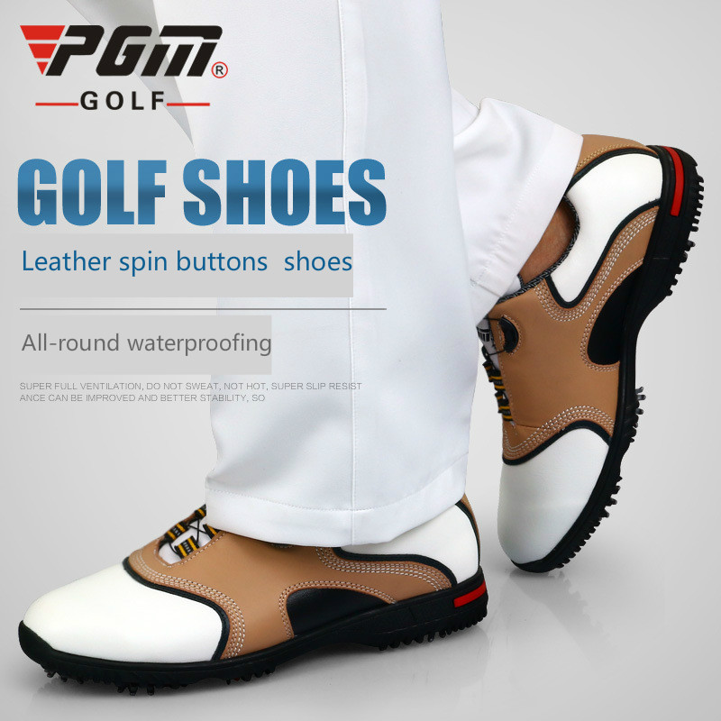 Golf shoes  male head  cowhide  cattle skin  PGM brand auto - rotated shoelace