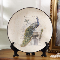 Antique Ceramics Peacock Crafts Home for Wall Hanging European Living Room Wine Cabinet Creative Decorative Craft Plate Dishes