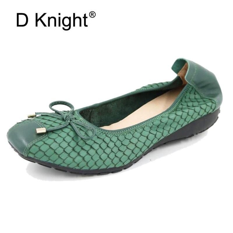 Chaussures de Ballet en cuir véritable Femme 2018 nouvelles chaussures de bateau de sans lacet pour les femmes chaussures plates grande taille 34-43 dame mocassins Chaussure Femme