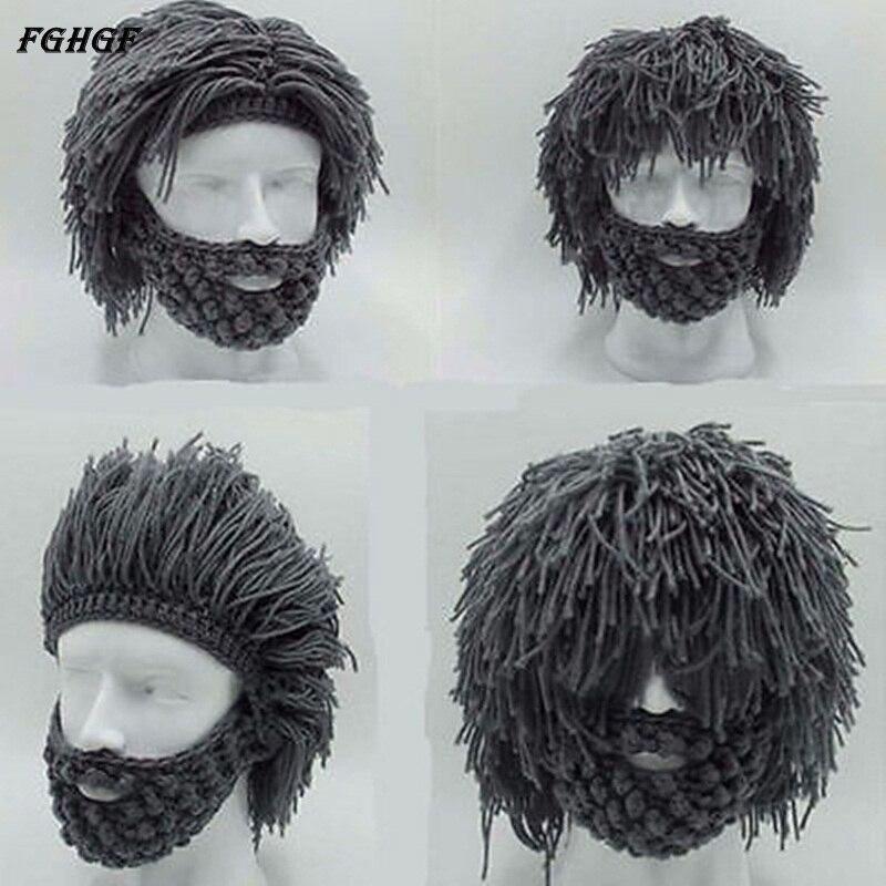 FGHGF Pelucas Barba Creativa A Mano el Sombrero de Punto de ...