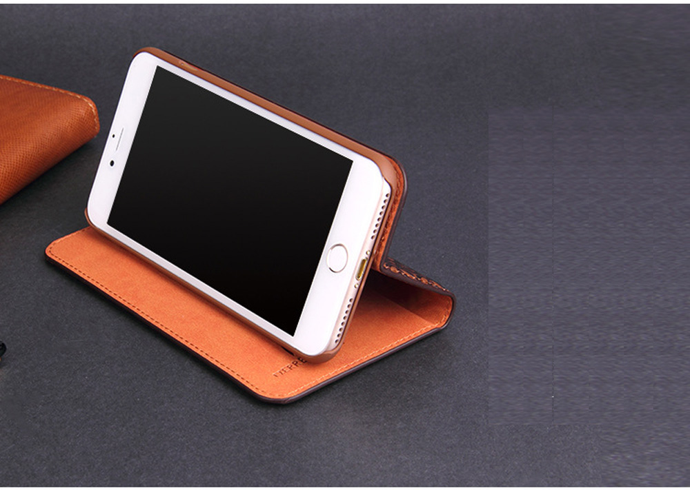 FIERRE SHANN Cowhide Full cover case For iphone X 6s 7 8 First layer cowhide Copper money card holder For iphone 6 7 8 plus bag in Flip Cases from Cellphones Telecommunications