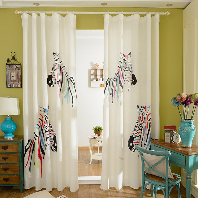 The New Korean 3 D Zebra Print Cartoon Curtains Children Bedroom Shading Finished Customization