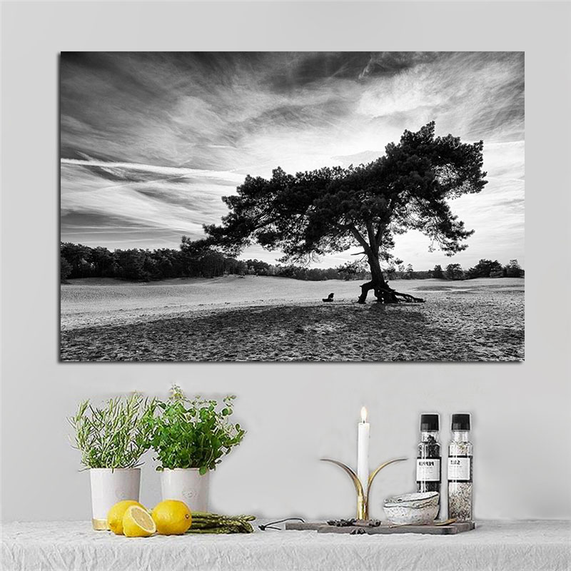 Nordic Black And White Cloud Landscape Black Tree Poster ...