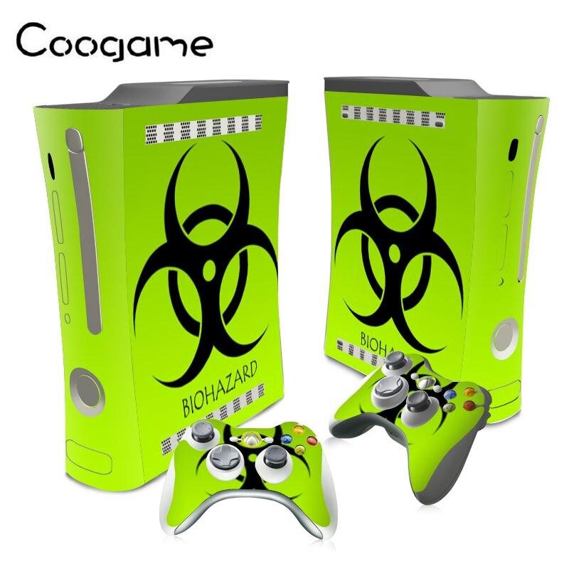 PVC Biohazard Sticker For Microsoft Xbox 360 Fat Console Skins & 2 Wireless Controller Pads