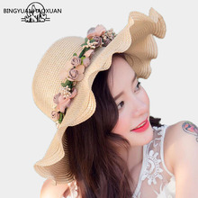 BINGYUANHAOXUAN Women Summer Sun Hat With Ladies Wreath Straw Fringe Big Beach Hats For Holiday Sombrero Hombre Verano