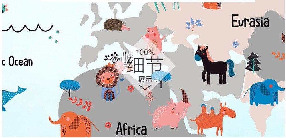 Купить с кэшбэком Custom mural 3d photo wallpaper Hand-painted cartoon world animal map children's room 3d wall murals wallpaper for walls 3 d