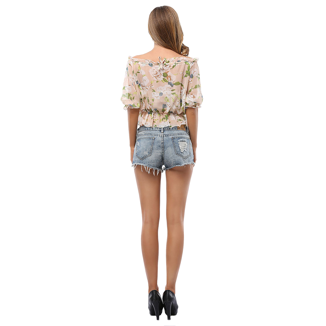 TKOH Womens New Summer Sexy Chiffon Half Sleeve Shirt Ladies Crop tops Off shoulder Halter Print Flower Elastic Waist
