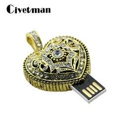 Ювелирные изделия из кристаллов Бронзовый Сердце 4 ГБ 8 ГБ 16 ГБ 32 ГБ 64 ГБ 128 ГБ USB флэш-памяти металлическая ручка drive U диск Цепочки и ожерелья