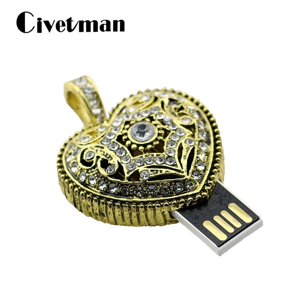 Crystal USB Flash Drive Bronze Heart 8GB 16GB 32GB 64GB 128GB USB Flash Memory Disk Metal Pen Drive Necklace USB 2.0 Flash Drive