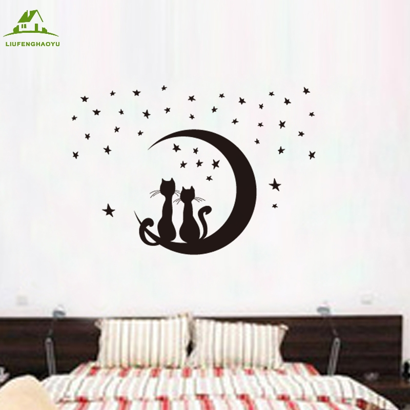 Cartoon cat moon vinyl wall stickers for kids rooms home - Dibujos para paredes ...