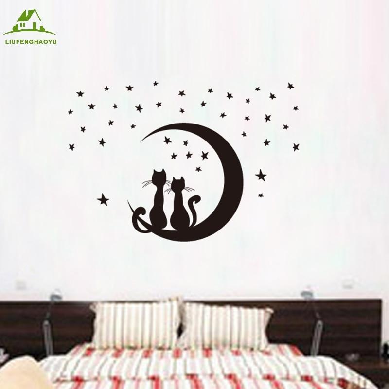 Cartoon cat moon vinyl wall stickers for kids rooms home decor art decals design 3d wallpaper Dibujos para paredes