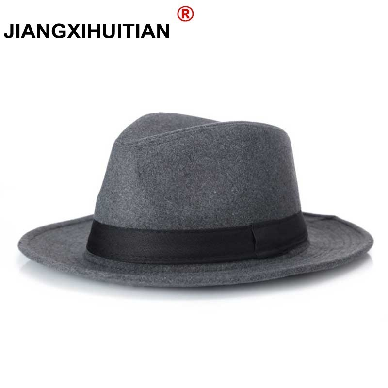 New Fashion Wool men Black Fedora Hat For Women s Wool Wide Brim JazzChic  Cap Vintage Panama Sun Top Hat-in Fedoras from Men s Clothing   Accessories  on ... 5cf938d57e1d