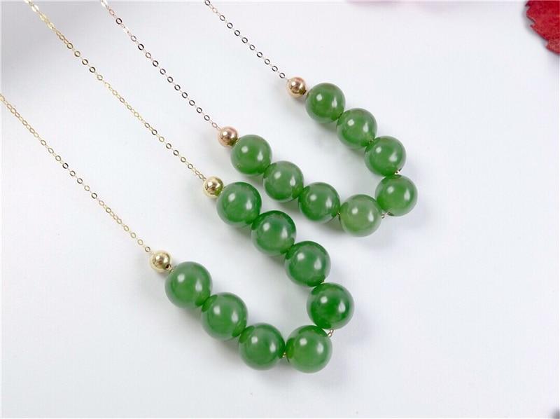 Nouveau véritable or 18 K incrusté de chaîne de clavicule pendentif boule de Jade vert chinois naturel - 3