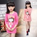 Autumn Girls Rendering Unlined Upper Long Outfit Children's Garment Long Sleeve Baby T-shirt Clothing 3 Colour