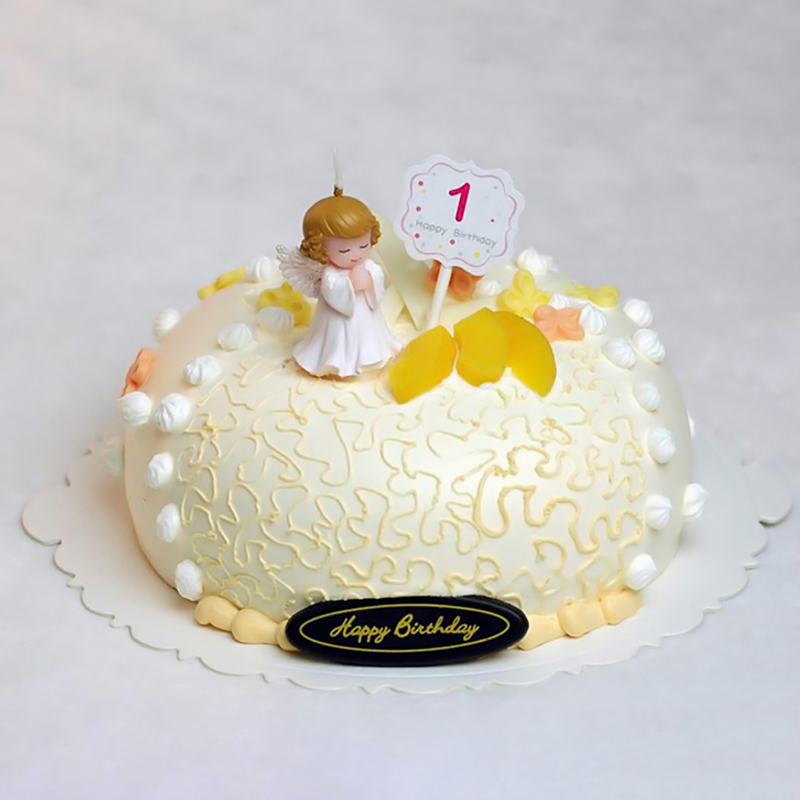Small Angel Happy Birthday Candle Cake Topper Unscented Decorative