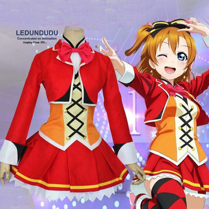 Hot Love Live! Cosplay Costumes Kousaka Honoka Sunny Day Song Dress Fancy Party Uniforms Women Outift Love Live + Stockings
