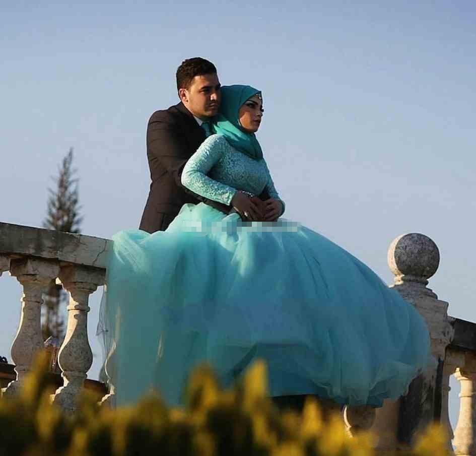Long Sleeve Muslim Wedding Dress 2017 New Ball Gown Long Sleeve Blue ...