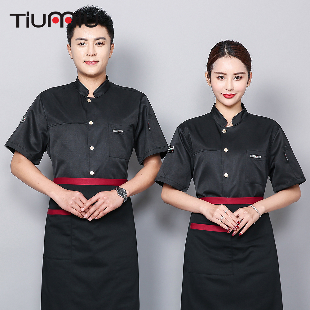Short Sleeves Restaurant Uniform Chef Clothes Cook Shirt Anti Water Oil Proof Fabric Hotel Sushi Uniform Bakery Cafe Workwear
