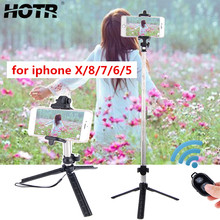 Untuk iPhone X XR X Max Bluetooth Selfie Stick Tripod untuk iPhone 8 7 6 6 S PLUS 5 S Nirkabel remote Control Selfie Tripod Holder(China)